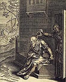 Ilustração de Emblemata Horatiana, Imaginibus In Aes Incisis Atque Latino, Germanico, Gallico Et Belgico Carmine Illustrata (1607), de Otho Vaenius, retratando Xântipe esvaziando um pote sobre Sócrates.