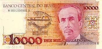 Cédula de 10 mil cruzados lançada em 1986, que homenageou o cientista Carlos Chagas