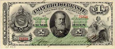 Cédula de 1.000 réis com efígie de Dom Pedro II de 1879