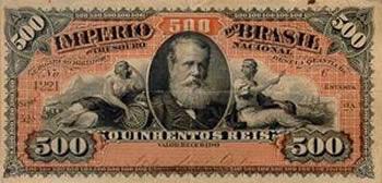 Cédula de 500 réis com efígie de Dom Pedro II