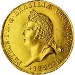Moeda de 6.400 réis, de 1822, em ouro [cara]