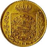 Moeda de 6.400 réis, de 1822, em ouro [coroa]