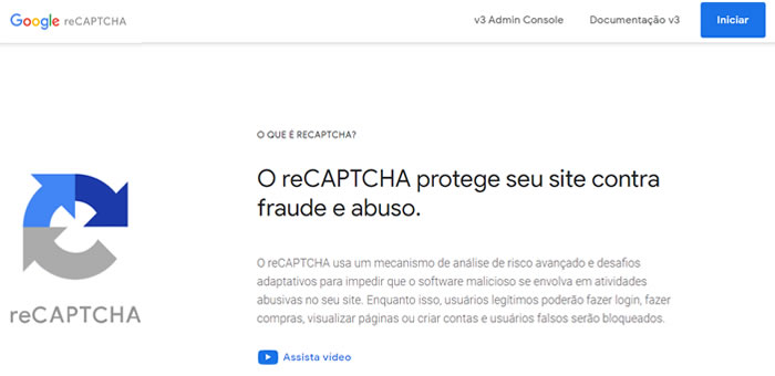 Registre seu reCAPTCHA no Google
