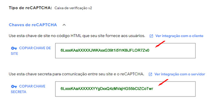 KEYS: Chave do Site (Site key) e Chave Secreta (Secret key)
