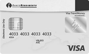 Visa TravelMoney Pré-pago e Recarregável, Aceito em mais de 200 países, Dólar Americano, Euro, Libra Esterlina, Dólar Australiano, e Dólar Canadense